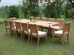 "13 Pc Grade-A Teak Wood Dining Set - Very Large 122"" Caranasas Double Extension Rectangle Table 12 Giva Chairs (10 Armless and 2 Arm / Captain) #WFDSGV15"