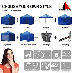 (18+ colors)AbcCanopy Commercial 10x10 Ez Pop up Canopy, Party Tent, Fair Gazebo with 6 Zipped End Sidewalls and Roller Bag Bonus 4x Weight Bag (royal blue)