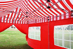 10'x20' Pop UP Canopy Wedding Party Tent Instant EZ UP Canopy Red Stripe - F Model Commercial Frame By DELTA