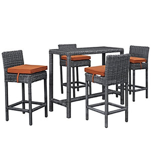 Modern Contemporary Urban Design Outdoor Patio Five PCS Pub Bar Chairs and Table Set, Orange, Rattan
