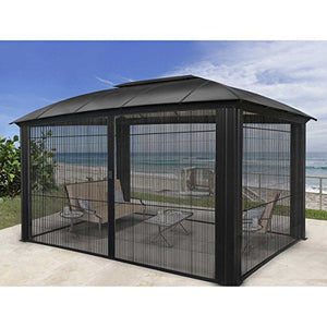 Paragon-Outdoor Siena Aluminum Sliding Screen Door Gazebo 12 x 12 ft