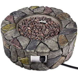 Asher Amada 28'' Propane Gas Fire Pit Outdoor 40,000 BTUs Stone Finish Lava Rocks Cover