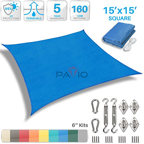Patio Paradise 15' x 15' Sun Shade Sail with 6 inch Hardware Kit, Blue Square Patio Canopy Durable Shade Fabric Outdoor UV Shelter Cover - 3 Year Warranty - Custom Size Available