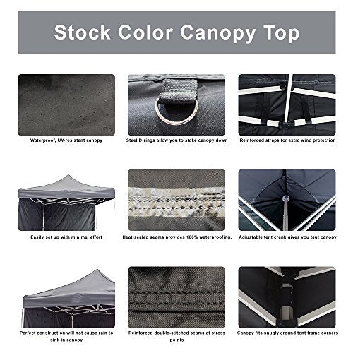 Vispronet- Strong Commercial Grade instant 10ft x 15ft Blue Canopy Tent -  Pop up Tent with 3 Walls and 1 Railskirt - Aluminum Hex Frame,