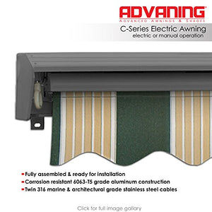ADVANING Electric Classic C Series, 16'x10', Semi-Cassette Top Quality Window/Door Canopy Sun Shade Patio Retractable Awning, Forest Green with Cream Stripes, Model: EA1610-A222H