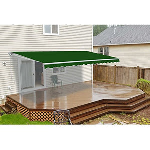 ALEKO AWM16X10GREEN39 Retractable Motorized Patio Awning 16 x 10 Feet Green