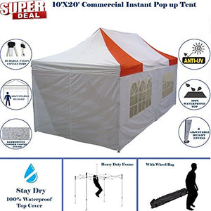 10'x20' Pop up Canopy Wedding Party Tent Instant EZ Canopy Red White- F Model Commercial Grade Frame By DELTA