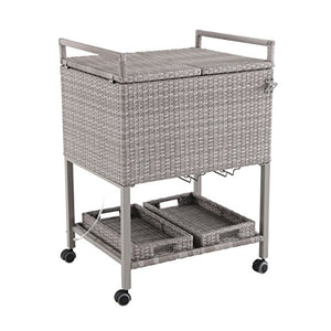 Royal Garden Portable Gray Wicker Patio Cooler Cart | Patio Furniture Beverage Cooler Ice Chest with Wheels for Ice and Drinks