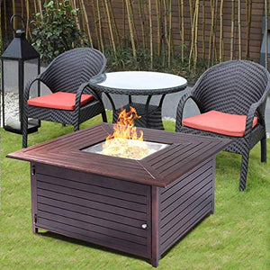 Giantex Fire Pit Table Aluminum Frame Outdoor Propane Gas Table Stove Furniture with Cover