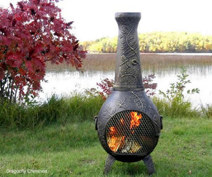 The Blue Rooster Co. Cast Aluminum Dragonfly Chiminea with Gas and a 10' hose in Gold Accent. Also comes with a free year round cover.