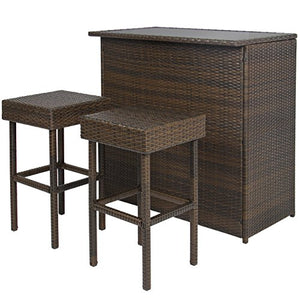 Best Choice Products 3PC Wicker Bar Set Patio Outdoor Backyard Table & 2 Stools Rattan Garden Furniture