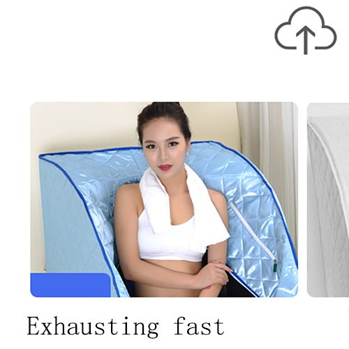 Far Infrared Steaming Room Home Steam Sauna Box Body Single Folding Steaming Machine Steam Room(3 Pcs Heating Plate),Blue