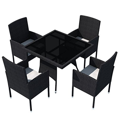 Festnight Garden Dining Furniture Set 5PCS Wicker Dining Table and Chairs with Washable Cushions Modern Design Black