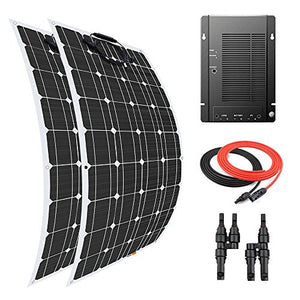 Giosolar 200 Watt Flexible Solar Panel Kit Battery Charger Monocrystalline with MPPT 40A Charge Controller for Boat Marine Off-Grid