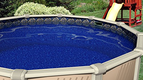 15-Foot-by-30-Foot Oval Manor Liner | Manor Esther Williams Beaded Style | 48-Inch Wall Height | 25 Gauge Virgin Vinyl | Designed for Steel Sided Above-Ground Swimming Pools