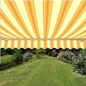 ALEKO AW12X10MSTRY315 Retractable Patio Awning 12 x 10 Feet Multi-Stripe Yellow
