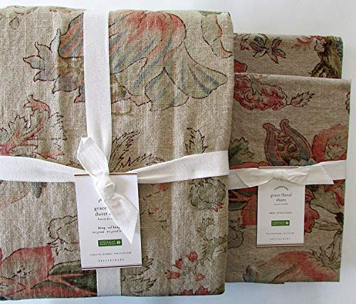 Pottery Barn Grace Floral Linen Texture King California