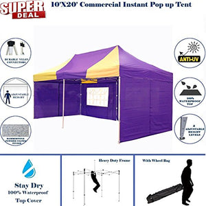10'x20' Pop up Canopy Wedding Party Tent Instant EZ Canopy Yellow Purple - F Model Commercial Grade Frame By DELTA