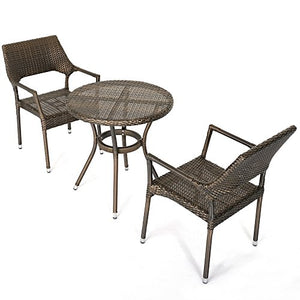 D+ Garden 3-Piece Bistro Table Set for Patio Balcony and Pub, Resin Wicker, Aluminum Frame, Dark Brown