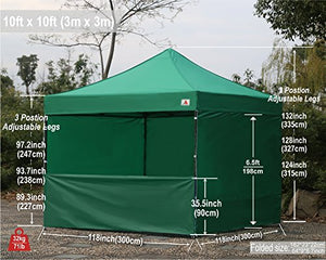 (18+ colors)AbcCanopy Commercial 10x10 Ez Pop up Canopy, Party Tent, Fair Gazebo with 6 Zipped End Sidewalls and Roller Bag Bonus 4x Weight Bag (forest green)