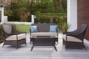 Cosco Outdoor Conversation Set, 4 Piece, Dark Brown Frame, Cushions, 2 Blue Pillows