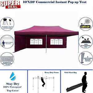 10'x20' Pop UP Canopy Wedding Party Tent Instant EZ UP Canopy Maroon - F Model Commercial Frame By DELTA