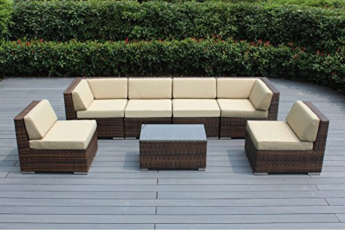 Ohana 9-Piece Outdoor Patio Furniture Sectional Sofa and Chaise Lounge Set, Mixed Brown Wicker with Sunbrella Antique Beige Cushions - No Assembly with Free Patio Cover