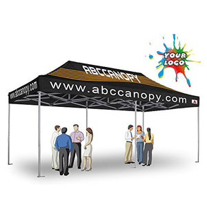 ABCCANOPY Deluxe Digital Printed Custom Canopy Ez Pop up Commercial Garden Tradeshow Canopy with Wheeled Carry Bag (10x20 Canopy)