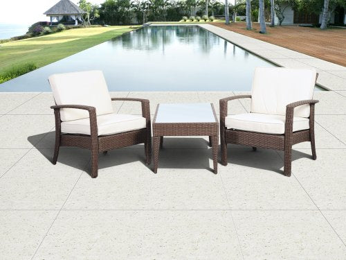 Atlantic 3-Piece Tahiti Deluxe Wicker Conversation Set, Brown with Off-White Cushions
