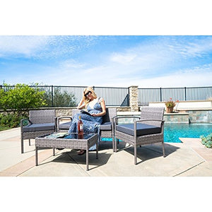 MattsGlobal BELLEZE4 PC Furniture Outdoor Set 4 Piece Patio Outdoor Rattan Patio Set One Glass Table Two Chairs One Sofa