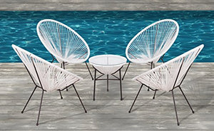 Acapulco Chair, All-Weather Wicker Indoor/Outdoor Round Lounge Chair Set By Modern Century Outdoor (5 Piece, White)