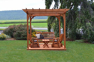 A&L Furniture Co. 8' x 8' Amish-Made Cedar Pergola with Deck and 3pc Glider Lounge Set and Coffee Table, Gray
