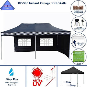 10'x20' Ez Pop up Canopy Party Tent Instant Gazebos 100% Waterproof Top with 6 Removable Sides Black Checker - E Model By DELTA Canopies