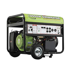All Power America APG3590CN 10000 Watt Propane Portable Generator w/Electric Start for Home Backup Power, Hurricane Damage Restoration, RV Standby Green/Black