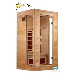 BetterLife BL9101 1-2 Person Ceramic Infrared Sauna, 39 by 36 by 72-Inch, Natural Hemlock Wood Finish