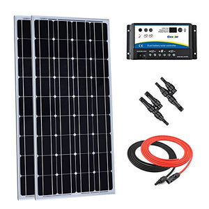 Giosolar 200 Watt 12 Volt Monocrystalline Solar Panel Kit with 20Amp Dual Battery Charge Controller, Solar Cable, MC4 Branch Connectors