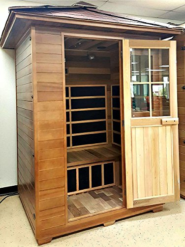3 Person Outdoor Sauna Weather Resistant Red Cedar Wood, Shingle Roof, 110v, 7XL Carbon Fiber FIR FAR Infrared Heaters, MP3/Auxiliary Input iPod, iPhone - Model SDS003RC