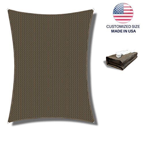 Windscreen4less Sun Shade Sail Brown 20' x 20' Square Patio Permeable Fabric UV Block Perfect for Outdoor Patio Backyard - Customize