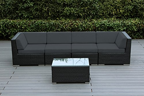 Ohana 5-Piece Outdoor Patio Wicker Furniture Conversation Set (dark gray)