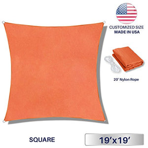 Windscreen4less 19' x 19' Square Sun Shade Sail - Solid Orange Durable UV Shelter Canopy for Patio Outdoor Backyard - Custom Size