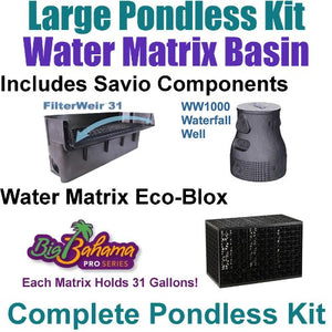 "10 x 30 Large Pondless Waterfall Kit, with 5 Eco-Blox Water Matrix Kit 6100 GPH Hybrid Drive Pump Savio 30"" Waterfall PLSB4"