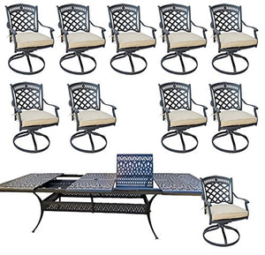 "11 Piece Outdoor Dining Set Patio Furniture Cast Aluminum with Elisabeth 48""x132"" Extension Table."