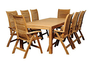 Brampton Teak-9pc Patio Dining Set Teak, Brown