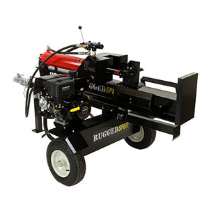 RuggedMade 28 Ton Gas Powered Hydraulic Log Splitter, 4 Way Wedge (301cc Electric Start)