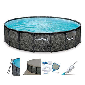 "SUMMER WAVES Elite 20' x 48"" Above Ground Frame Pool Set + Kokido Electric Vacuum"
