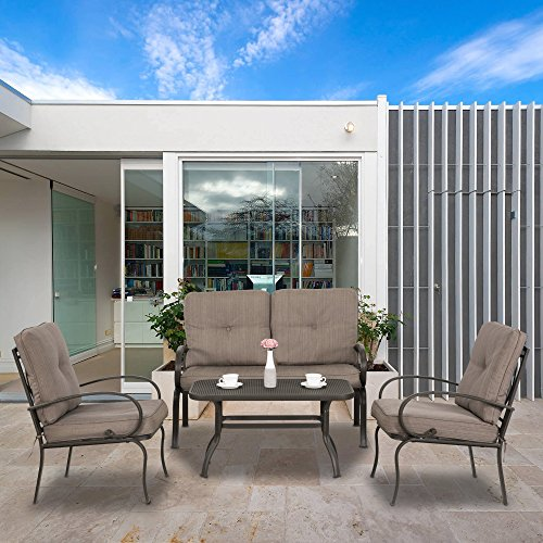 CMP Outdoor Conversation Set 4 PCs Patio Furniture Set Garden Dining Set Cushioned Sofa Set Love Seat Wrought Iron Coffee Table Loveseat Sofa 2 Chairs, Gradient Brown