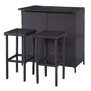 3Pcs Mix Brown Patio Rattan Shelf Bar Table Set w/ 2 Stools