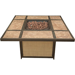 Hanover Outdoor Furniture SUMMRNGHTTILE Summer Nights 5 Piece Conversation Set Tile-Top Fire Pit Table