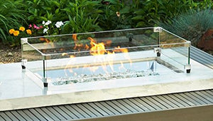Alcott Rectangular Gas Fire Pit Table ALC-1224 with Glass Wind Guard 1224