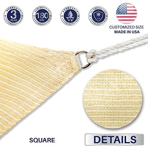 Windscreen4less Sun Shade Sail for Outdoor Patio Backyard UV Block Awning with Steel D-rings 18ft x 18ft Beige Sand Square - Custom Size Available